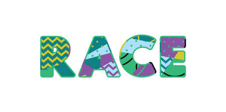 The word RACE concept written in colorful abstract typography. Vector EPS 10 available.
