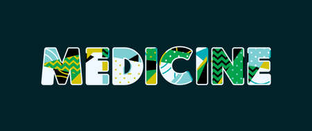 The word MEDICINE concept written in colorful abstract typography. Vector EPS 10 available. Иллюстрация