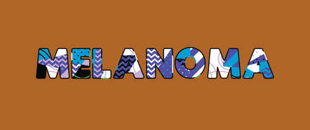 The word MELANOMA concept written in colorful abstract typography. Vector EPS 10 available.