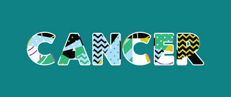 The word CANCER concept written in colorful abstract typography. Vector EPS 10 available.