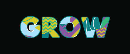 The word GROW concept written in colorful abstract typography. Vector EPS 10 available.