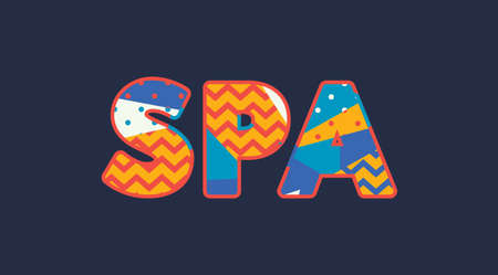 The word SPA concept written in colorful abstract typography. Vector EPS 10 available. Reklamní fotografie - 103633416