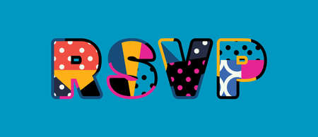 The word RSVP concept written in colorful abstract typography. Vector EPS 10 available. Çizim