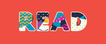 The word READ concept written in colorful abstract typography. Vector EPS 10 available.  イラスト・ベクター素材