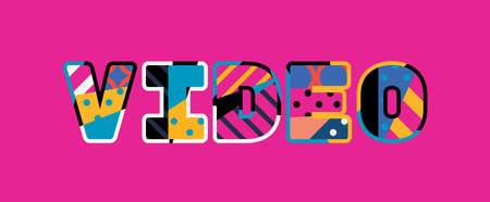 The word VIDEO concept written in colorful abstract typography. Vector EPS 10 available.