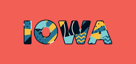 The word IOWA concept written in colorful abstract typography. Vector EPS 10 available.