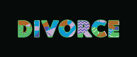 The word DIVORCE concept written in colorful abstract typography. Vector EPS 10 available. Illustration