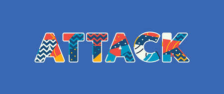 The word ATTACK concept written in colorful abstract typography. Vector EPS 10 available.