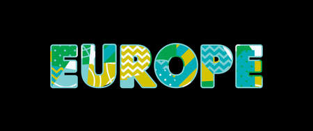 The word EUROPE concept written in colorful abstract typography. Vector EPS 10 available.