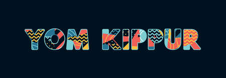 The words YOM KIPPUR concept written in colorful abstract typography. Vector EPS 10 available.
