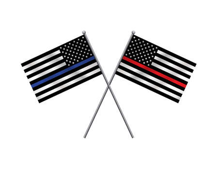 A pair of first responder police and firefighter support flags crossed illustration. Vectore EPS 10 available.