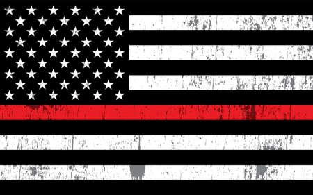 Una bandera estadounidense que simboliza el apoyo a los bomberos. Vector EPS 10 disponible. Ilustración de vector