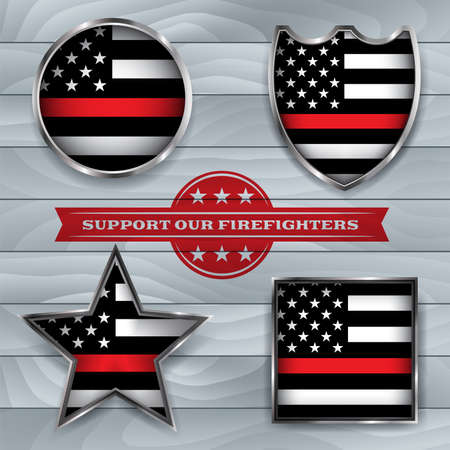 American flag badges and emblems symbolic of support for firefighters. Vector EPS 10 available.