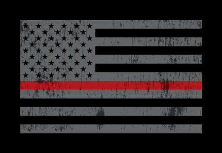 Una bandera estadounidense gris que simboliza el apoyo a los bomberos. Vector EPS 10 disponible.