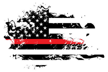 An abstract grunge style American flag firefighter and firemen support theme. Vector EPS 10 available.