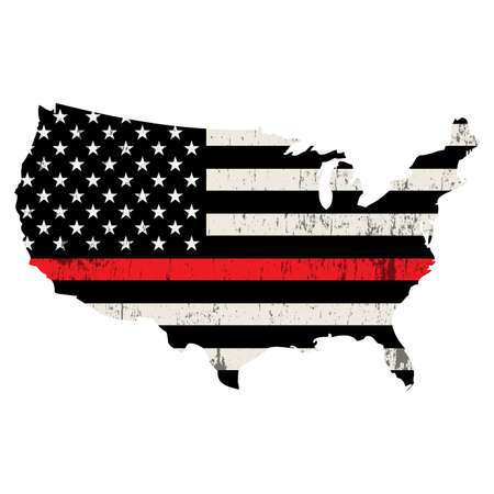 An isolated firefighter support flag in the shape of the United States isolated on white illustration. Vector EPS 10 available.  イラスト・ベクター素材