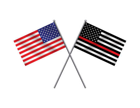 A firefighter support and American flag illustration. Vector EPS 10 available.