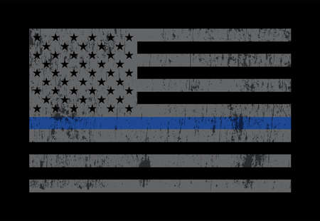 A grey American flag symbolic of support for law enforcement. Vector EPS 10 available.  イラスト・ベクター素材