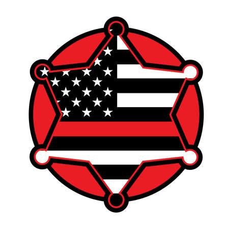 A red firefighter fireman badge emblem illustration. Vector EPS 10 available.  イラスト・ベクター素材