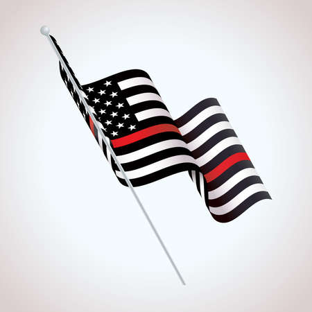 A black and white and red striped American flag firefighter support symbol waving illustration. Vector EPS 10 available.