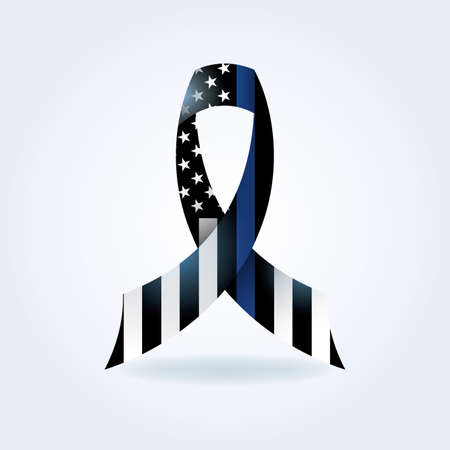 A police support flag ribbon with thin blue line illustration. Vector EPS 10 available.  イラスト・ベクター素材