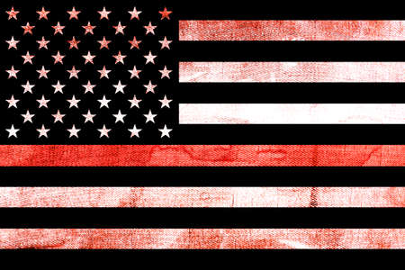 A firefighter support flag background with a textured grunge background and thin red line. 写真素材