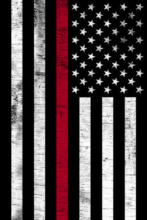 A firefighter support flag shown vertically with a grunge texture.