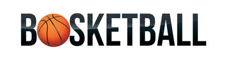 The word BASKETBALL with a realistic ball on a white background. Vector EPS 10 available.