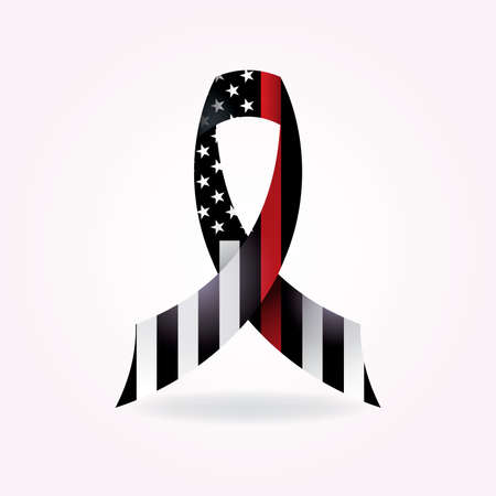 A thin red line firefighter American flag support ribbon illustration. Vector EPS 10 available.  イラスト・ベクター素材