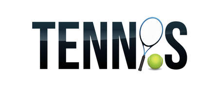 The word TENNIS and racket and ball concept illustration. Vector EPS 10 available.