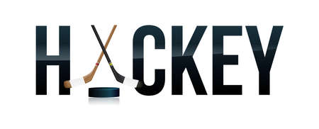 The word HOCKEY and sticks and puck word art concept illustration. Vector EPS 10 available.