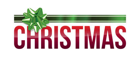 The holiday CHRISTMAS word art with a green shiny bow illustration. Vector EPS 10 available.