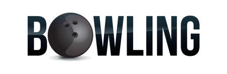 The word BOWLING concept with a ball on a white background illustration. Vector EPS 10 available.