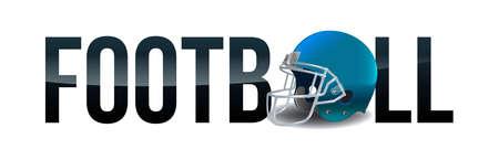 The word FOOTBALL and an American football helmet illustration. Vector EPS 10 available. Ilustração