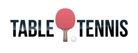 The word TABLE TENNIS and paddle and ball concept illustration. Vector EPS 10 available.