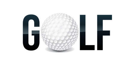 The word GOLF and ball word art concept illustration. Vector EPS 10 available.  イラスト・ベクター素材