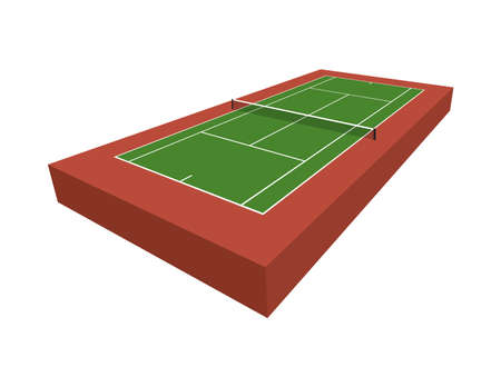A 3D tennis court isolated on a white background illustration. Vector EPS 10 available.