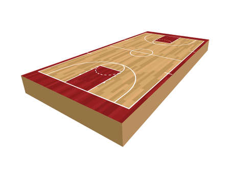 A realistic 3D basketball court isolated on a white background illustration. Vector EPS 10 available.