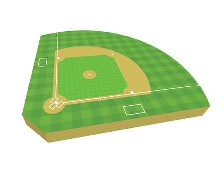 A 3D baseball field isolated on a white background illustration. Vector EPS 10 available. Illustration