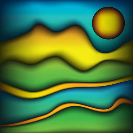 An abstract background of smooth waves of colors scenic landscape illustration. Vector EPS 10 available.