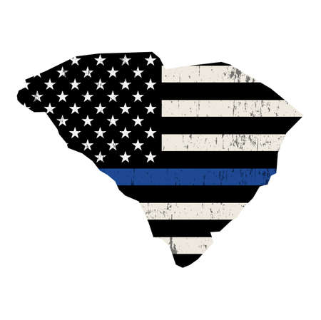 A police support flag in the shape of the state of South Carolina illustration. Vector EPS 10 available.  イラスト・ベクター素材