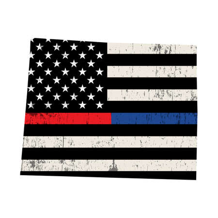 An American flag in the shape of the state of Wyoming police and firefighter support illustration. Vector EPS 10 available.