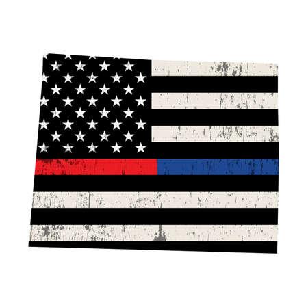 Una bandera estadounidense en la forma de la policía del estado de Wyoming y el bombero apoyan la ilustración. Vector EPS 10 disponible. Ilustración de vector