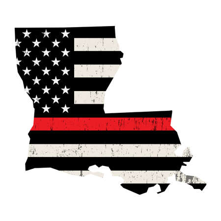 An American flag in the shape of the state of Louisiana firefighter support illustration. Vector EPS 10 available. Illustration