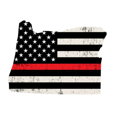 An American flag in the shape of the state of Oregon firefighter support illustration. Vector EPS 10 available.