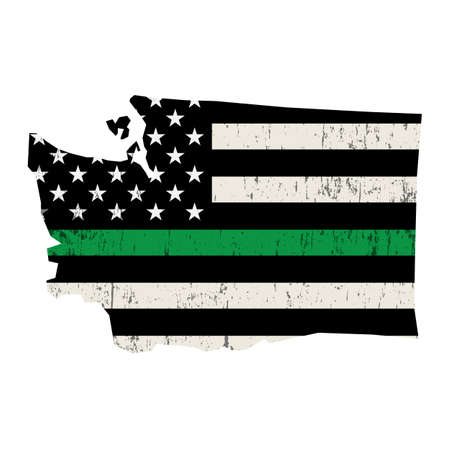 An American flag in the shape of the state of Washington military support illustration