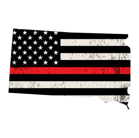 An American flag in the shape of the state of South Dakota firefighter support illustration. Vector EPS 10 available.