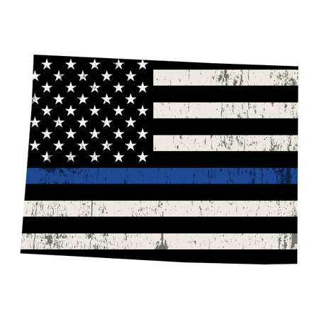A police support flag in the shape of the state of Colorado illustration. Vector EPS 10 available.