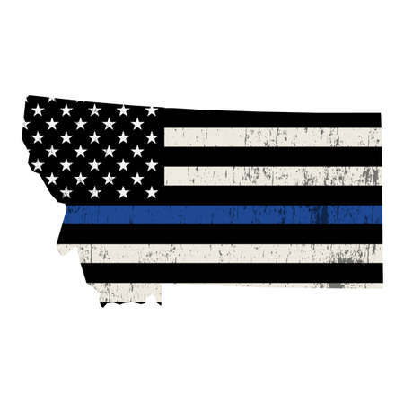 A police support flag in the shape of the state of Montana illustration. Vector EPS 10 available.