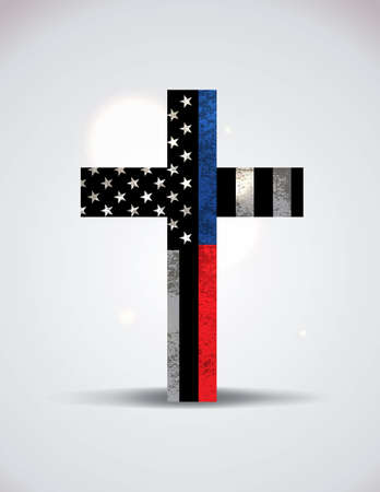 A christian cross with police and firefighter support flag illustration. Vector EPS 10 available. Çizim